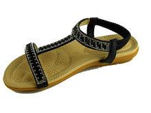 Дамски сандали ниски с камъни - А 2837 - черни