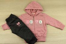 Спортен екип за момичета розов - 661-  за 1,2,3,4,5 годишни