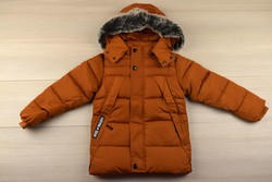 Зимно  яке цвят тиква - 9007 - за момчета от 4 до 12 г.