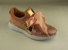 Дамски маратонки - А 8025 - розови с брокат
