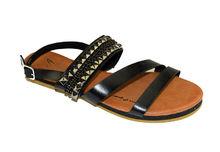 Ниски дамски сандали - А 2841 - черни с камъни