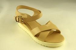 Дамски сандали лачени - А 2847 - бежови