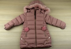 Детско зимно яке за момичета - 8118 - розово от 4 до 12 г.