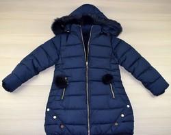 Детско зимно яке за момичета - 8118 - тъмно синьо от 4 до 12 г.