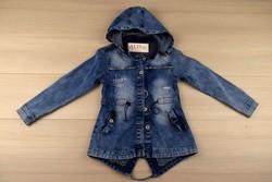 Дънково дълго яке за момичета за 6,12,16г. - тъмно синьо