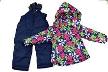 Детски зимен комплект за момичета от 3 до 8 г. - тъмно син на цветя