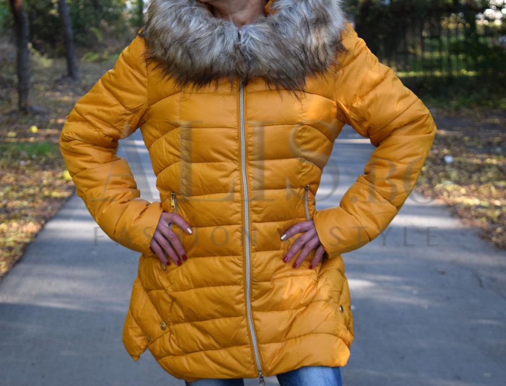 74cc2f9ff33 Разкроено дамско зимно зимно яке -горчица - Alis.bg - Fashion & Style