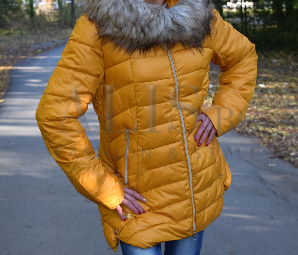 7cad54b2f2e Разкроено дамско зимно зимно яке -горчица - Alis.bg - Fashion & Style
