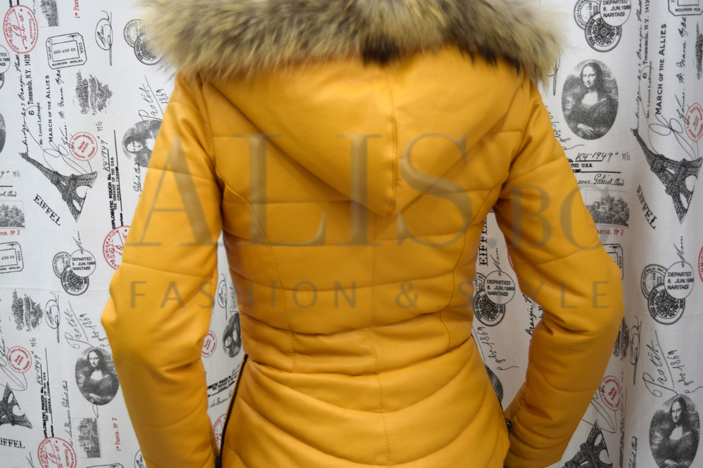 68fbcc78287 Дамско кожено яке с ЕСТЕСТВЕН ПУХ- горчица - Alis.bg - Fashion & Styl