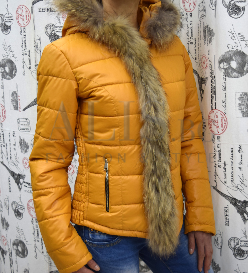 76e6af132f8 Дамско зимно яке с ЕСТЕСТВЕН ПУХ-горчица - Alis.bg - Fashion & Style