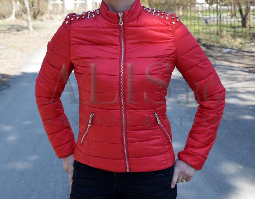 ef821daeb30 Дамско пролетно - есенно яке - SHARY - червено с камъни - Alis.bg - F
