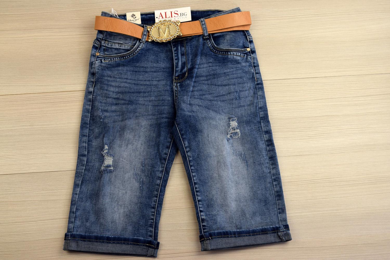 56e9b137c75 Къси дамски 3/4 дънки - SIERRA - сини с колан - Alis.bg - Fashion & S