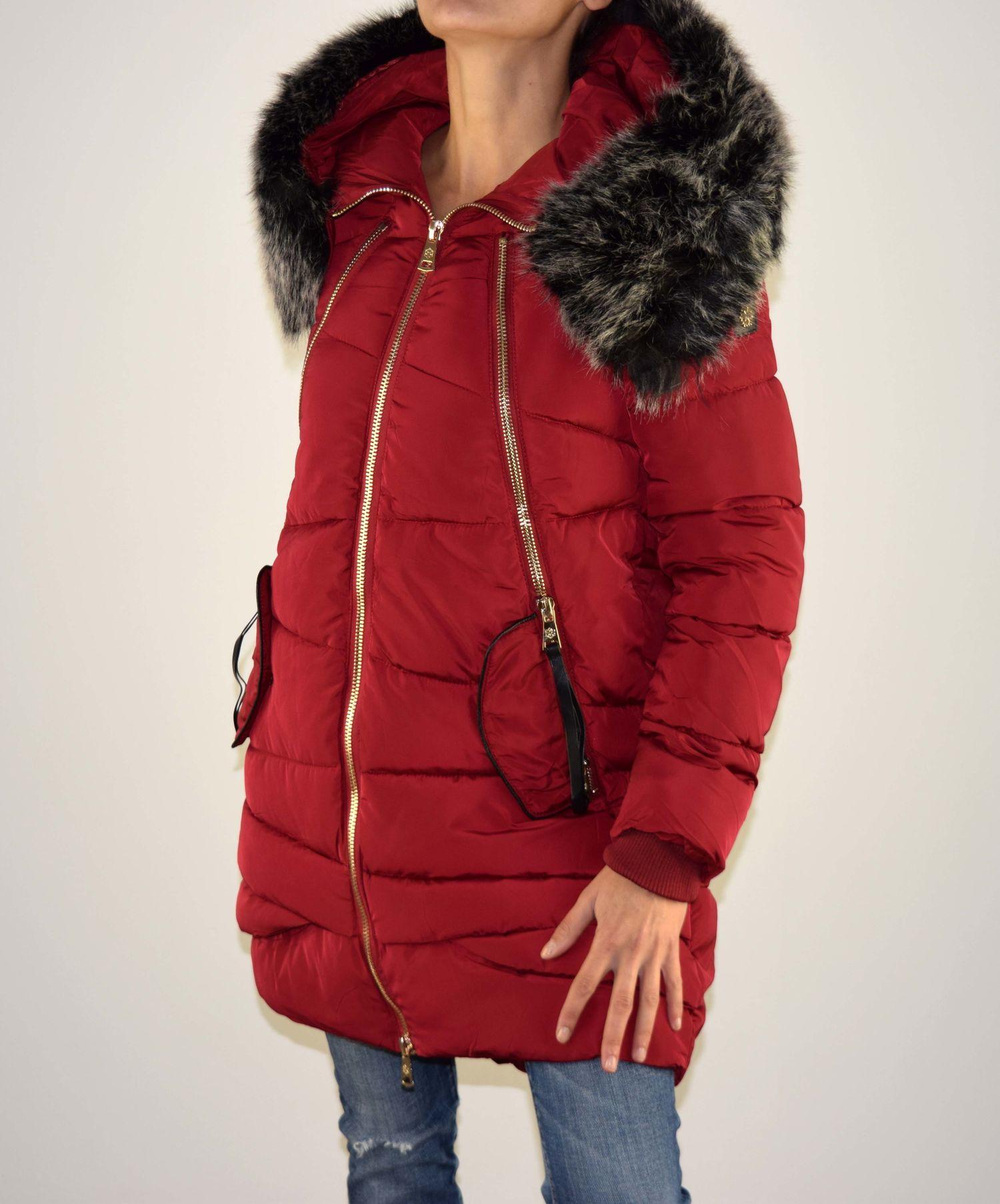 af0f93b13e9 Дамско зимно яке - 1607 - бордо с пух - Alis.bg - Fashion & Style