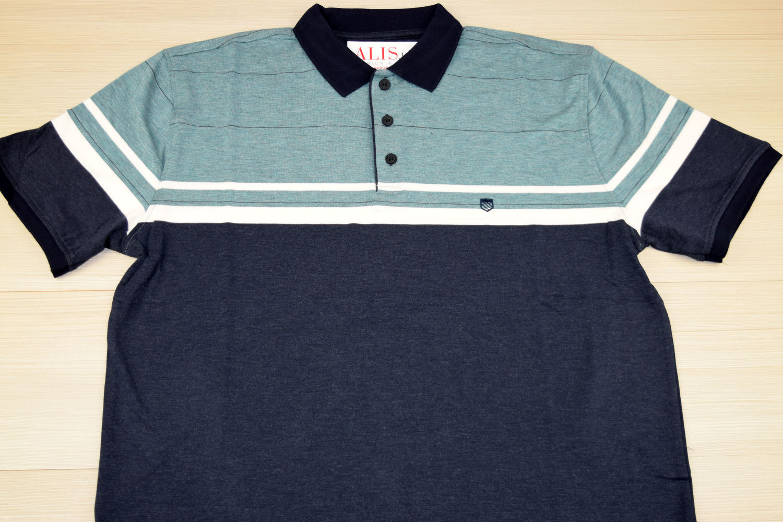 da0e727387e Мъжка тениска с яка двуцветна до 4XL - RYS 04 - зелено/синьо - Alis.b