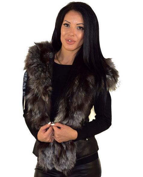 9457b85f81d Дамски елек с ЕСТЕСТВЕН КОСЪМ - черен - Alis.bg - Fashion & Style