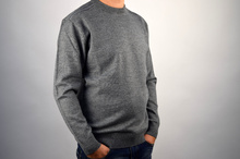 Луксозен мъжки пуловер в сиво ВЪЛНА