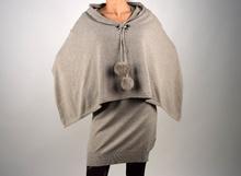 Дамска модна рокля 2в1 с пончо
