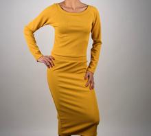 Дамски комплект с пола Топ Модел в горчица