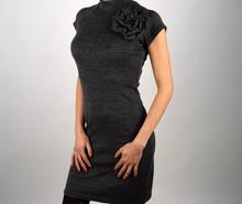 Дамска стилна рокля в сиво/плетиво