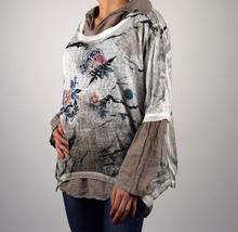 Дамска модна блуза от две части в кафяво и бяло