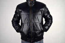 Мъжко зимно яке PAUL - еко кожа черно