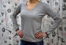 Дамска блуза с дълъг ръкав  - MIMI - райе