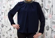 Дамска блуза с дълъг ръкав -LUCY- тъмно синя