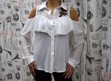 Дамска блуза с дълъг ръкав -KENNEDY- бяла