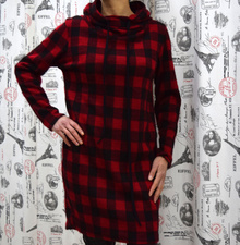 Дамска рокля с дълъг ръкав - EMMA - червена