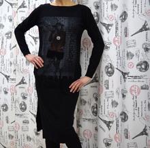 Дамска рокля с дълъг ръкав - OLIVIA - черна