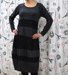 Дамска рокля с дълъг ръкав - AVA - тъмно сива