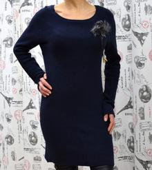 Дамска рокля с дълъг ръкав - LILY - тъмно синя