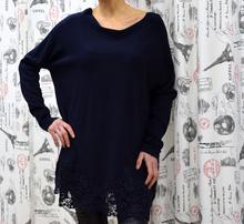 Дамска рокля с дълъг ръкав -CHLOE- тъмно синя