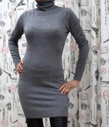 Дамска рокля с дълъг ръкав - ADDISON - сива