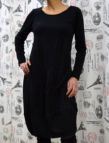 Дамска рокля с дълъг ръкав - AVA - черна