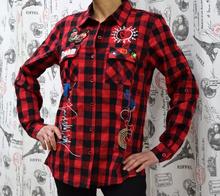 Дамска риза с дълъг ръкав - DREAM- каре бордо