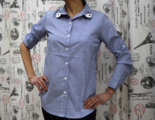 Дамска риза с дълъг ръкав - MIA- синя