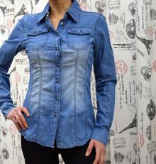 Дамска риза с дълъг ръкав - KAYLEE- синя