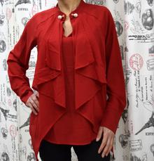 Дамска блуза с дълъг ръкав - ZOE- червена