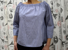 Дамска риза с дълъг ръкав - SARAH- синя