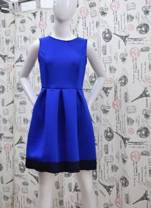 Елегантна дамска рокля - JAYDEN - синя с гол гръб