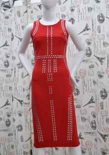 Елегантна дамска рокля - NATALIE - червена с камъни