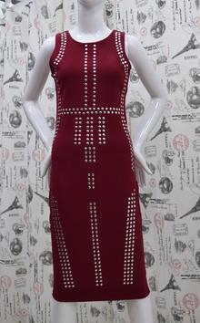 Елегантна дамска рокля - NATALIE- бордо с камъни