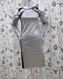 Елегантна дамска рокля - EVA - сребро