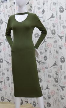Дамска рокля с дълъг ръкав - DANY - цвят каки