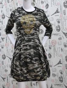 Ежедневна дамска рокля - SKULL - тъмно зелена
