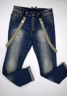 Дамски дънки тип потур - ALLISON - сини с тиранти