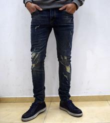 Модни мъжки дънки - NICHOLAS  - тъмно сини