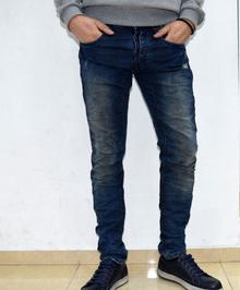 Модни мъжки дънки - JAMES - тъмно сини