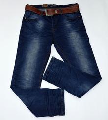 Модни мъжки дънки - AUSTIN - тъмно сини с колан  до размер 40